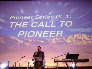 Pastor Derek Dunn, preaching on the Pioneer Series